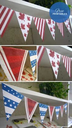 Planning a party to celebrate your country this Canada Day or Independence Day? Here to help you with decorating are some festive, easy to assemble Free Printable Bunting Flags. 4th Of July Cake, 4th Of July Celebration, 4th Of July Party, Fourth Of July, Printable Banner, Free Printables, Canada Day Party, Canada Holiday, July Crafts