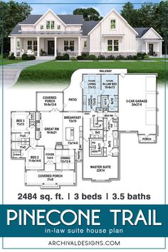 house Living is easy in this impressive and generously spacious multi-generational house plan with stunning views and an open floor plan. Every detail in the Pinecone Trail one-story house pla House Plans One Story, Family House Plans, Ranch House Plans, New House Plans, Dream House Plans, Modern House Plans, Small House Plans, Dream Houses, One Story Houses