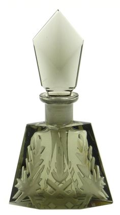 ART DECO BLACK CZECH GLASS PERFUME BOTTLE