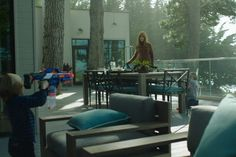 Big Little Lies Celeste Wright's House Nicole Kidman Sun deck Screen House, Sound Stage, Big Little Lies, Character Home, Ranch Style, White Walls, Outdoor Spaces, Beautiful Homes, Master Bedroom