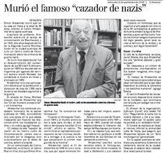 """Murió el famoso """"cazador de nazis"""". Publicado el 21 de septiembre de 2005."""