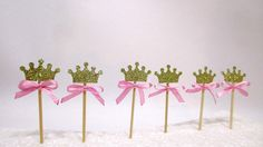 Children's Party Decorations – 12 Crown Cupcake Toppers. Food Picks – a unique product by MagicalStart on DaWanda