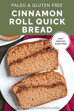 This Paleo Cinnamon Roll Quick Bread is so easy to make and tastes incredible! Tender cake with a sweet cinnamon swirl and drizzled with a thick glaze. Gluten free, dairy free, and naturally sweetened. #paleo #glutenfree #healthy #easyrecipe #dairyfree | realfoodwithjessica.com via @realfoodwithjessica Paleo Baking, Gluten Free Baking, Gluten Free Recipes, Gluten Free Pumpkin, Cinnamon Bread, Cinnamon Rolls, Breakfast Cake, Breakfast Recipes, Paleo Breakfast