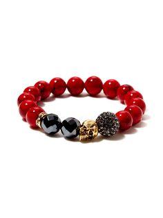New York Red Jade, Hematite, & Gold Skull Stretch Bracelet