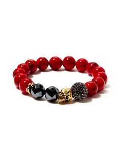 New York Red Jade, Hematite, & Gold Skull Stretch Bracelet