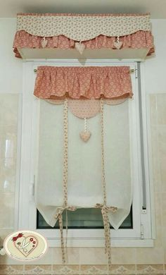 Country Chic Kitchen, Shabby Chic Kitchen, Yellow Kitchen Curtains, Window Cornices, Curtain Holder, Curtains And Draperies, Crochet Curtains, Curtain Styles, Stores