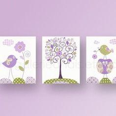 Lot de 3 illustrations pour chambre d'enfant et bebe, oiseau, hibou