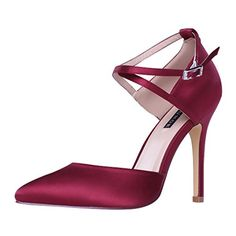 Check out these sexy ERIJUNOR E2264 Women High Heel Ankle Strap Satin Dress  Pumps Evening Prom 61dc1c01a9d3