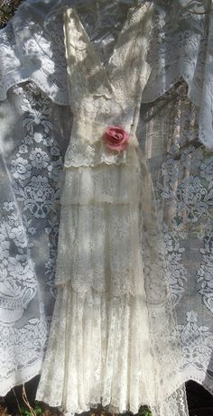 Flapper wedding dress white ivory lace beaded by vintageopulence