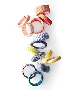 15 Crafts You Can Make in Under 30 Minutes   Martha Stewart Living - Wrap discarded fabric scraps around wooden bangles for a quick upcycled treat.