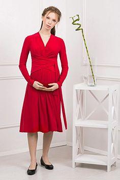 07b3e6d6955e Abito prémaman - midi Giulia vestito per gravidanza e allattamento con  maniche lunghe - Nothing But Love - rossa - 46