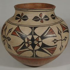 "#adobegallery - Magnificent Large San Ildefonso Polychrome Jar. Potter Unknown      Category: Historic     Origin: San Ildefonso Pueblo     Medium: clay, pigment     Size: 11-1/2"" height x 13"" diameter     Item # SC3680A"