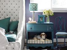 manualidades creativas para perros - cama para perros dentro de la mesilla de noche