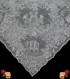 Antique Victorian White Wedding Hankie MUSIC Harp Floral Sheer Cotton  Batiste   eBay 8d02e0f62d5