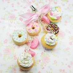 Cupcakes donuts and hearts keychain phone strap charm polymer clay miniature food accessories handmade by Sweet Clay Creations