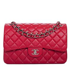 Chanel Classic Quilted Caviar Double Flap Jumbo Bag in Dark Pink #chanel