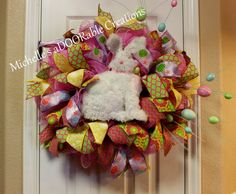 Easter Wreath, Easter Bunny Wreath, Spring Wreath, Outdoor Easter Wreath by MaDoorableCreations on Etsy