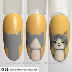 No photo description available. Cat Nail Art, Animal Nail Art, Cat Nails, Nail Art Diy, Cat Nail Designs, Nail Art Designs Videos, Nail Drawing, Nails For Kids, Dream Nails