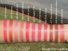 Rouge Dior, lipstick, swatches, 028, Mazette, 066, Diorama, 264, Mitzah Lilac, 298, Beige Indecise, 349, Pink Junon, 351, Elegant Pink, 361, Pink Baiser, 365, Pink Songe, 411, Sensual Bronze, 434, Samarcande Brown, 435, Andalouse, KarlaSugar, Karla Sugar