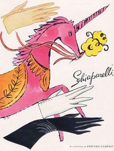Schiaparelli glove ad - artwork by Andy Warhol #vintage #gloves #warhol #schiaparelli #pink #unicorn