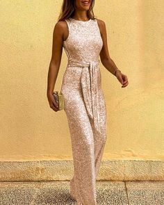 Glitter Round Neck Sleeveless Backless Sequins Jumpsuit trendiest dresses for any occasions, including wedding gowns, special event dresses, accessories and women clothing. Sequin Jumpsuit, Backless Jumpsuit, Jumpsuit Dressy, White Jumpsuit, Formal Romper, Sparkly Jumpsuit, Summer Jumpsuit, Jumpsuit Outfit, Party Wear