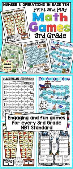 Grade Math Games: Number and Operations in Base Ten Teaching Addition, Addition Activities, Subtraction Activities, Multiplication Facts, Math Games, 3rd Grade Games, 3rd Grade Math, Math Word Walls, Vocabulary Word Walls