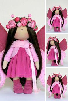 Butterfly doll Handmade doll Muñecas Bambole Puppen Tilda doll Pink doll Cloth doll Textile doll Rag doll Fabric doll Nursery doll by Olga P
