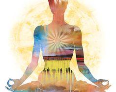 Art yoga LOTUS POSE grand Yoga Wall Art posture par YogaColors