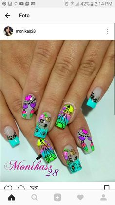 Uñas hermosas Wow Nails, Cute Nails, Pretty Nails, Birthday Nail Designs, Birthday Nails, Cute Spring Nails, Summer Nails, Toe Nail Art, Acrylic Nails