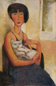 Girl With a Cat 2012 by Ju Hong Chen, Original Painting, Oil on Canvas