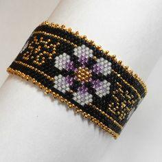 Beaded Bracelet Russian Style Wildflower in Peyote Stitch. $25.00, via Etsy.