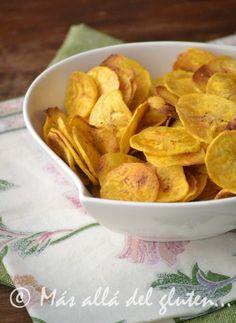 Más allá del gluten...: Chips de Plátano (Receta GFCFSF, Vegana)