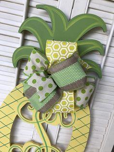 Pineapple Monogram Door Hanger Summer Wreaths Double Door Monograms Pineapple Yellow Green Welcome Decor Door Hanger Monogram Wedding Gift & Beige Pineapple Monogram Door Hanger Pineapple Decor Tan Pineapple ...