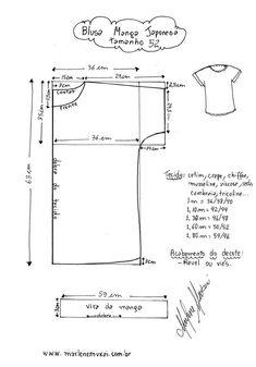 Blusa Manga Japonesa - Violet Tutorial and Ideas Dress Sewing Patterns, Blouse Patterns, Sewing Patterns Free, Free Sewing, Clothing Patterns, Free Pattern, Fabric Sewing, Skirt Patterns, Sewing Hacks