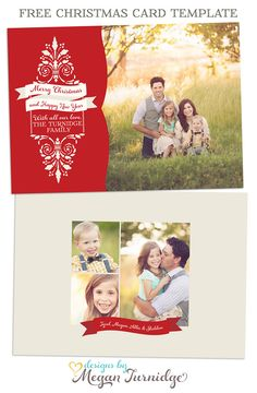 Free Christmas Card Template - free layered PSD and TIF files for creating your holiday and Christmas cards from Designs by Megan Turnidge