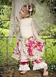Shabby Chic Holiday Paisley Ruffle SkirtMatching Lace Top & Pant Available!12 Months to 16 Years