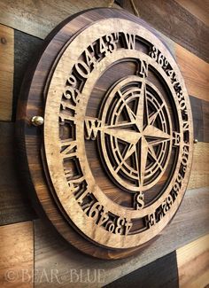 Custom Dimensional Compass, Intricately Cut from Birch and Layered onto Heavy Pine – Bear And Blue Idaho Falls, Router Projects, Wood Projects, Cnc Woodworking, Woodworking Projects, Fun Photo, Compass Wall Decor, Nautical Compass, 3d Cnc