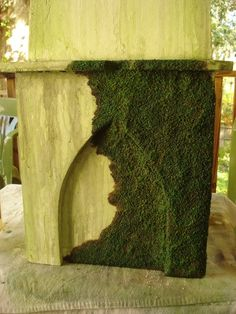 Faux carpet moss how to.  This looks incredible!
