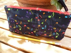 Perfect for music lovers! Handcrafted Music Notes Zipper Pencil Case/ by AShop4Kicks on Etsy, $9.00