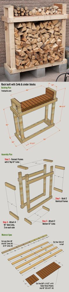 Shed Plans - Free Firewood Rack Plan - build it for $42 (including lumber, Cinder blocks and screws), with a top shelf. - Now You Can Build ANY Shed In A Weekend Even If You've Zero Woodworking Experience! #buildsheddiy #ShedBuilding