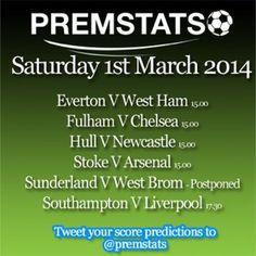 Premier League fixtures for Saturday 1st March 2014