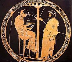 Grecian vase showing the Oracle at Delphi and the father of Pythagoras, around…