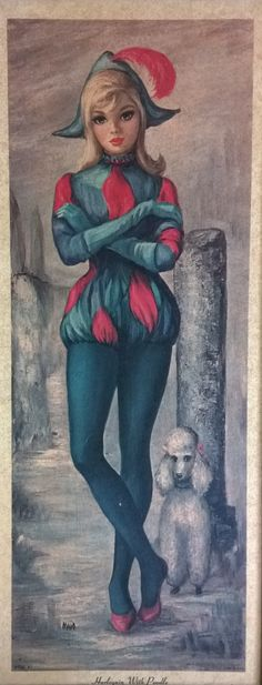 Harlequin with Poodle by Maio Big Eye Art