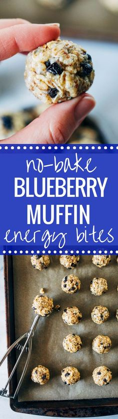 No-Bake Blueberry Muffin Energy Bites-less than 10 ingredients + 10 minutes for a healthy and energizing snack that's refined sugar-free! (vegan, gluten-free)