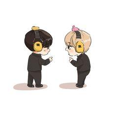 Bts Chibi, Anime Chibi, Cute Cartoon, Cartoon Art, Kpop Drawings, Vkook Fanart, Chibi Characters, Dibujos Cute, Bts Lockscreen