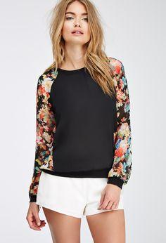 Semi-Sheer Floral-Paneled Top | LOVE21
