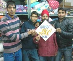 Our cutters, Arjay, Shashi, Bitu and Ayaz, just sent us this delightful message from India (taken in the store room, at our Himalayan Tailoring Centre!)  Wishing ALL our staff and tailors a VERY HAPPY NEW YEAR!