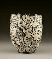 Ginkgo Vase with Carved Edge by Jennifer  Falter (Ceramic Vase)