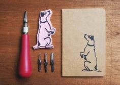 stamps made out of pink erasers. so darling!