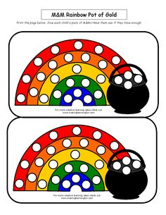 Use M or Skittles to fill in the rainbow -- file found at makinglearningfun.com